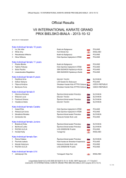 Official Results VII INTERNATIONAL KARATE