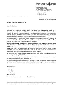 Komunikat w sprawie zakończenia produkcji Alaski standard