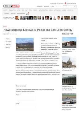 Nowe koncesje łupkowe w Polsce dla San Leon