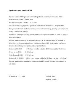 Správa revíznej komisie KBT 2010