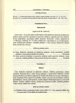 LITERATURA Geraniaceae J u s s. Pakostovité (spracovala M