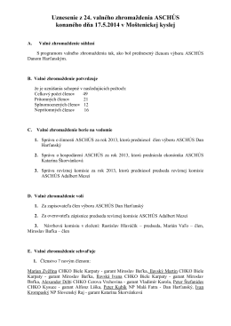 uznesenia - Asociácia strážcov chránených území Slovenska
