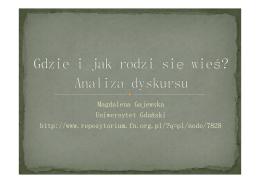 Magdalena Gajewska Gdzie i jak rodzi wieœ? Pytania o