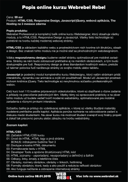 Popis online kurzu Webrebel Rebel
