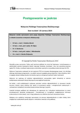 Wytyczne PTO - Leczenie jaskry - Polskie Towarzystwo Okulistyczne