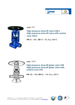 High pressure shut-off valve V46.2 High pressure shut-off