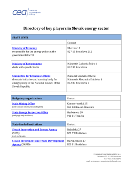 Directory of key players in Slovak energy sector