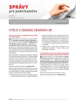 Správy pre podnikateľov 18/2012