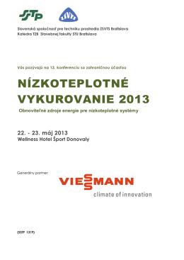 Konferencia Nízkoteplotné vykurovanie 2013