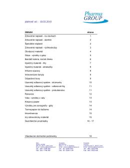 Kompletný zoznam dodávaného zdravotníckeho