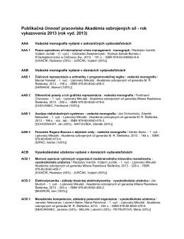 Publikačná činnosť pracoviska Akadémia ozbrojených síl