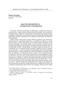 Danuta Zawadzka, Bałtyk Mickiewicza literatura i geografia
