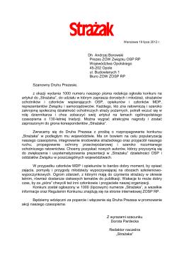 Dh Andrzej Borowski Prezes ZOW Związku OSP