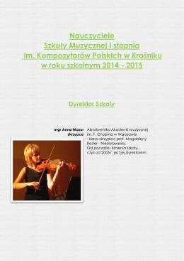 Grono Pedagogiczne - Szkoła Muzyczna I stopnia w Kraśniku