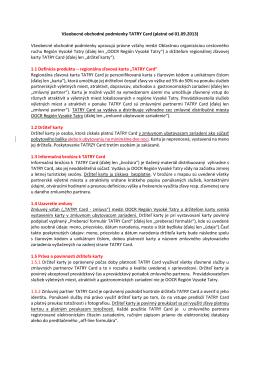 Všeobecné obchodné podmienky TATRY Card (platné od 01.09