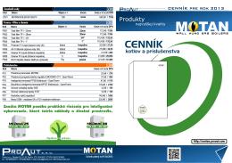 Cenník produktov Motan