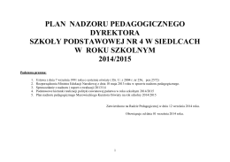 plan nadzoru pedagogicznego dyrektora szkoły podstawowej nr 4 w