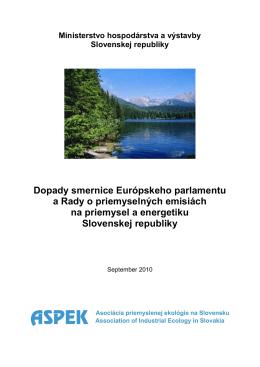 Dopady smernice Európskeho parlamentu a Rady o priemyselných