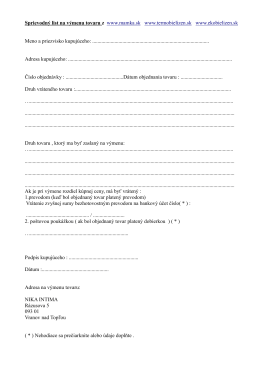 Sprievodný list na výmenu tovaru z www.mamka.sk - Nika