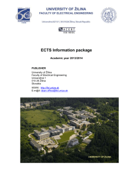 UNIVERSITY OF ŽILINA - Žilinská univerzita
