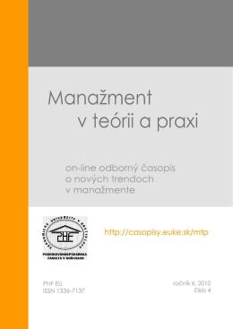 Manažment v teórii a praxi - Podnikovohospodárska fakulta so