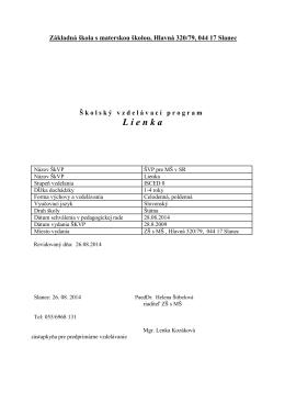 L ienka - Základná škola s materskou školou, Hlavná 320/79, 044 17