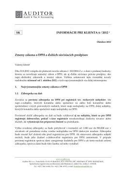 Zmeny zákona o DPH a ďalších predpisov. Prevod obchodných