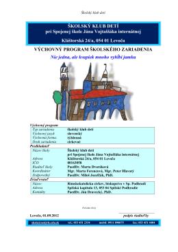 Výchovný program 2012/2013 – Školský klub detí pri Spojenej škole