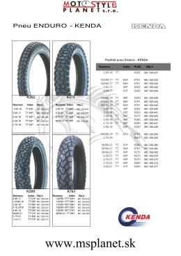 Kompletný katalóg pneumatík Kenda MX a ENDURO (pdf)