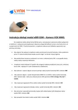 Instrukcja obsługi moduł x009 GSM – Kamera VOX MMS: