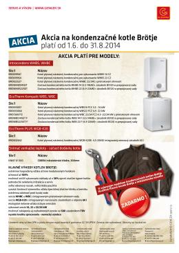Akcia na kondenzačné kotle Brötje platí od 1.6. do 31.8.2014