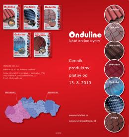 Cenník produktov platný od 15. 8. 2010