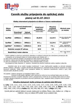 Cenník služby pripojenia do optickej siete platný od 01.07