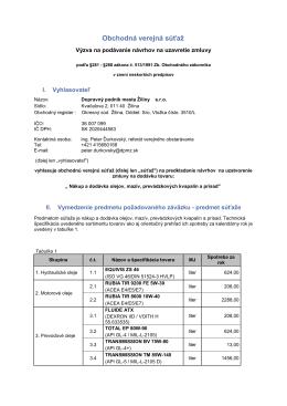 Obchodná verejná súťaž - Dopravný podnik mesta Žiliny sro