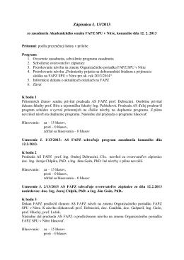 Zápisnica č. 13 - 2013 - FAPZ-SPU