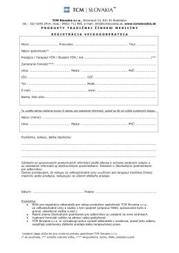 Registračný formulár pre veľkoodberateľov