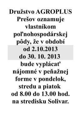Družstvo AGROPLUS Prešov oznamuje vlastníkom