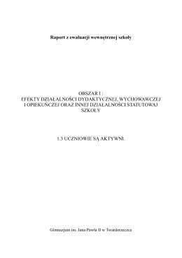 Ewaluacja wewnętrzna - Gimnazjum im. Jana Pawła II w