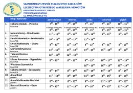 Harmonogram pracy lekarzy – Malczewskiego 47a