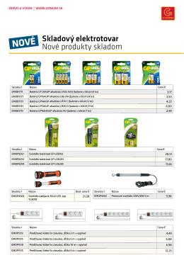 Skladový elektrotovar Nové produkty skladom