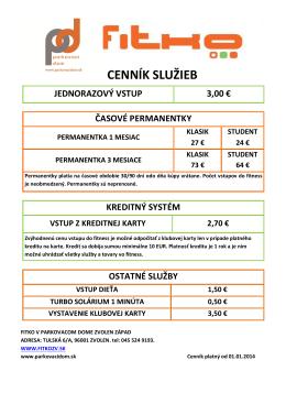 CENNÍK SLUŽIEB - Parkovací dom Zvolen | www.parkovacidom.sk