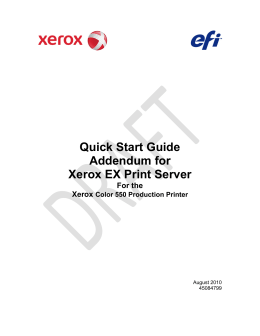 Quick Start Guide Addendum for Xerox EX Print Server