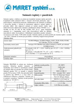 Teplotné snímače v štandartných puzdrách