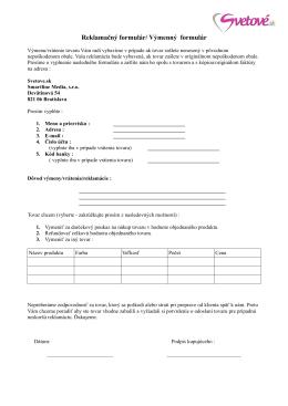 Reklamačný formulár/ Výmenný formulár