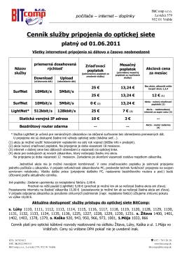 Cenník služby pripojenia do optickej siete platný od 01.06