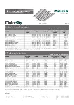 Produktový cenník MetroKlip544.17 KB