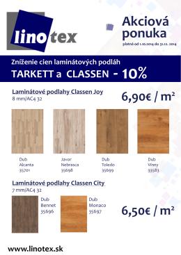 Akciová ponuka na laminátové podlahy Tarkett a Classen