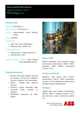 Káblový prepoj 110 kV PPC Energy, a.s.