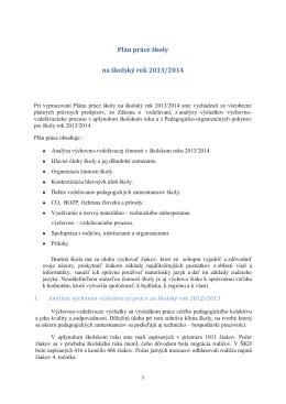 Plán práce školy na školský rok 2013/2014