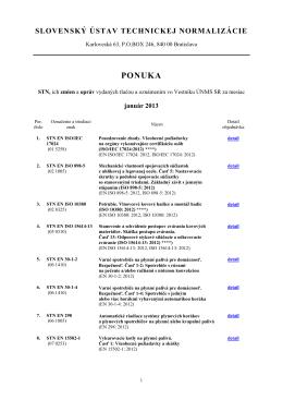 Ponuka noriem január 2013 - Slovenský ústav technickej normalizácie
